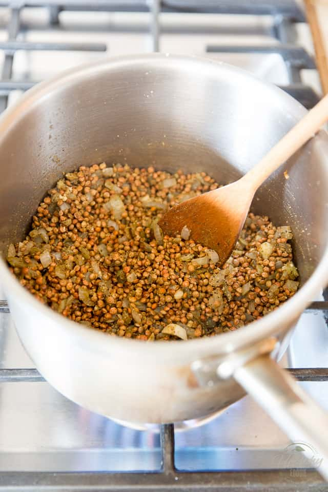brown lentils cooking in saucepan