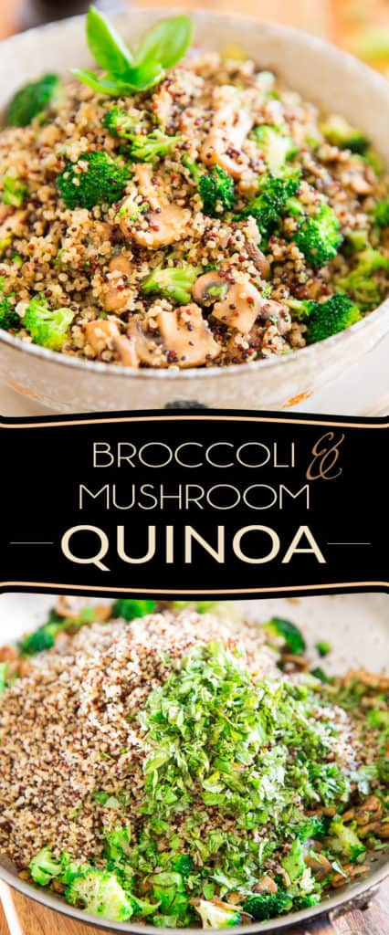 Delicious warm or cold, this Broccoli and Mushroom Quinoa makes for a delicious accompaniment to just about any meal... or, add a little bit of protein to instantly turn it into a complete meal!