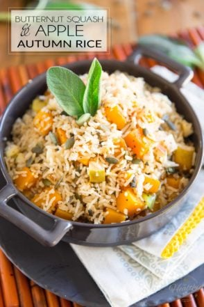 This Butternut Squash and Apple Autumn Rice is a very simple dish with an unpretentious autumnal flavor profile that can be enjoyed either as a side dish or as a hearty vegan meal.