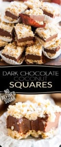 Free of gluten and of refined sugar, these Dark Chocolate Coconut Squares are filled with nothing but wholesome ingredients. But they taste so good, no one will ever believe it. But really... who needs to know, right?