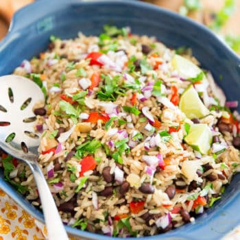 Gallo Pinto is a rice and beans casserole, traditional of Nicaragua and Costa Rica, very regularly served as a side dish and particularly enjoyed at breakfast alongside a couple of fried eggs.
