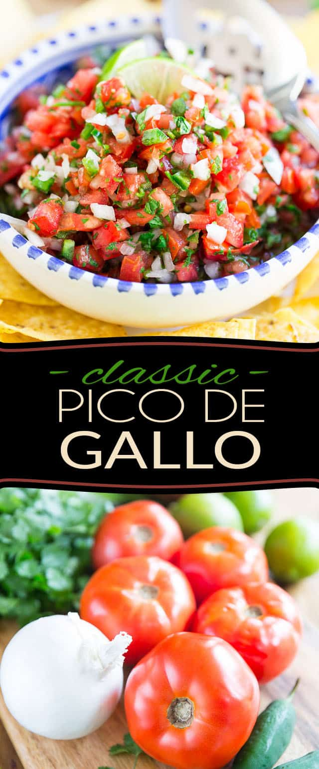 Pico de Gallo is a crazy tasty yet super simple Mexican salsa made from chopped tomatoes, onion, cilantro, fresh jalapeños, salt, and lime juice. Serve it with tortillas or sprinkle liberally on all your favorite foods!