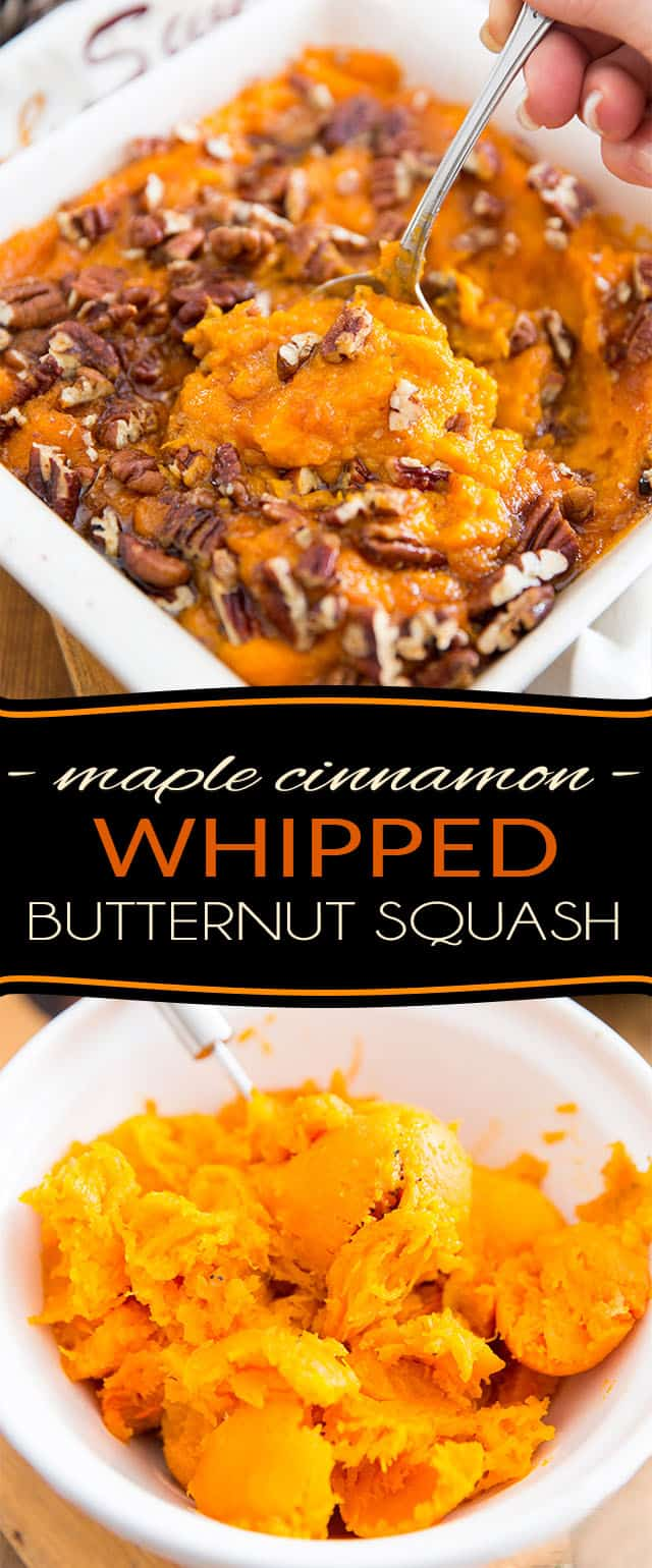 This Maple Cinnamon Whipped Butternut Squash is absolutely perfect as a side for Thanksgiving, but it's so good, it will totally make you want to give thanks year round!