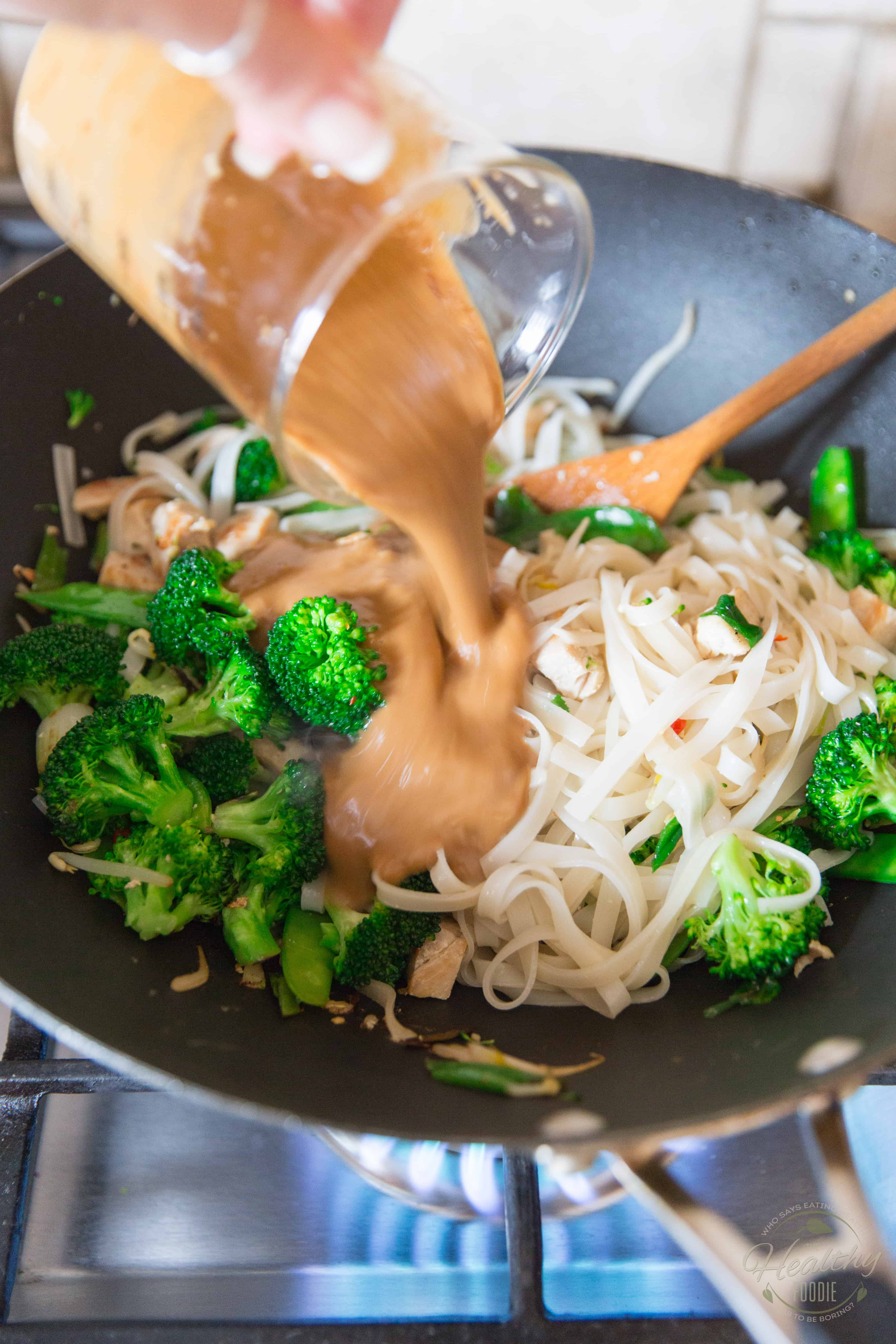 Spicy Peanut Chicken Noodles in the making - process shot