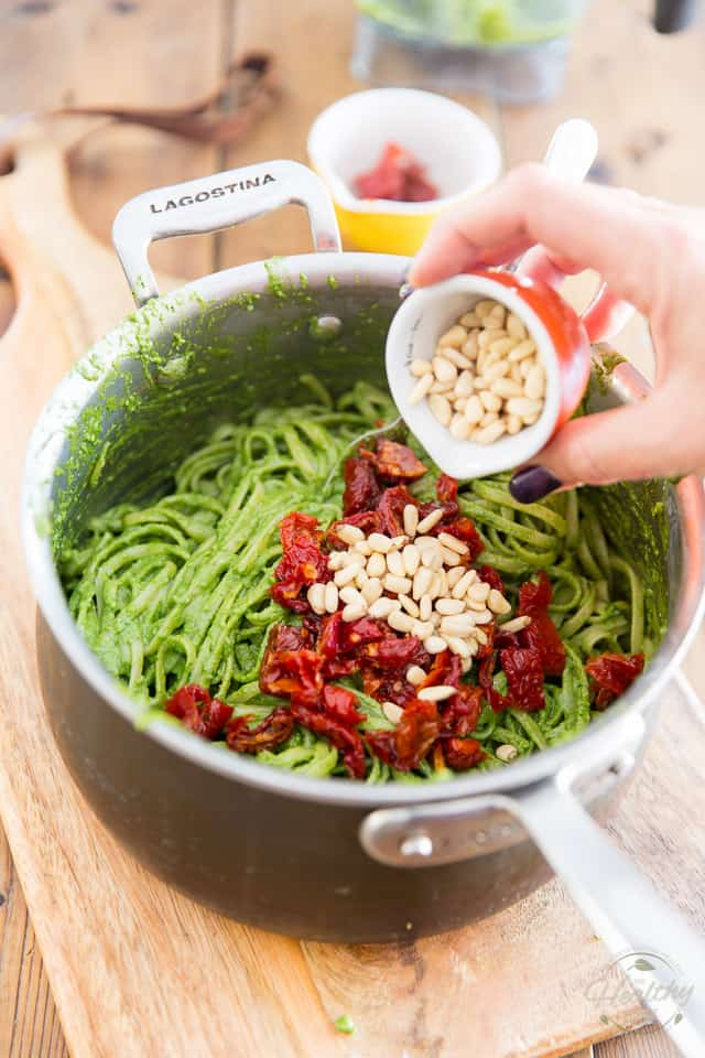Arugula Pesto Linguine by Sonia! The Healthy Foodie | Recipe on thehealthyfoodie.com