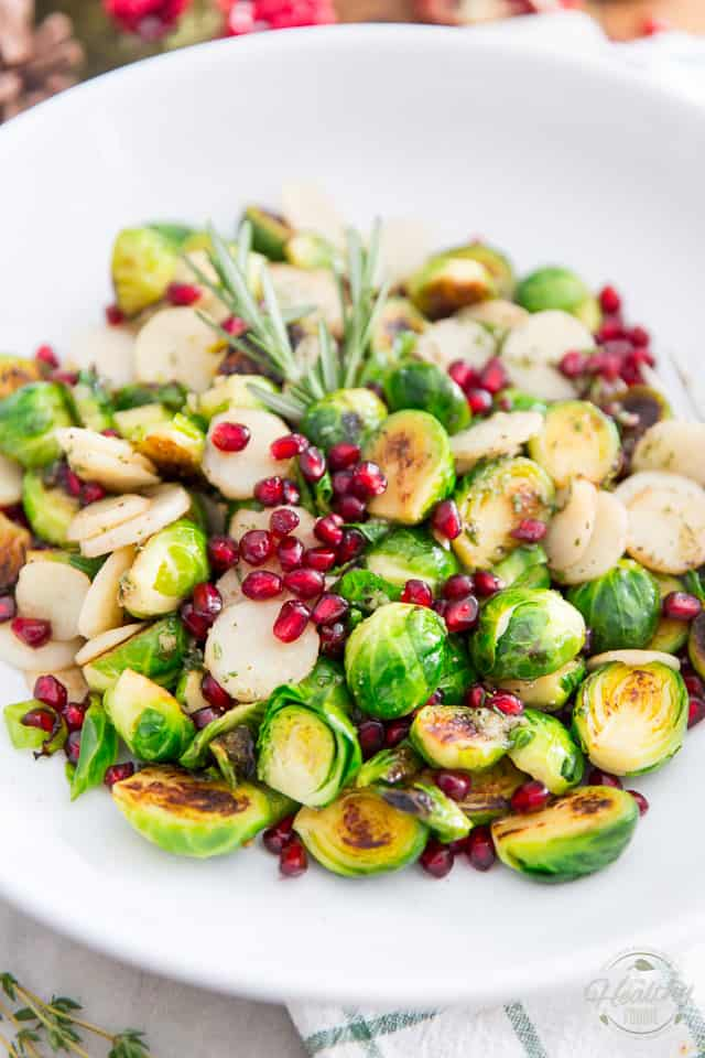 Pan Roasted Brussels Sprouts with Water Chestnuts and Pomegranate Seeds by Sonia! The Healthy Foodie | Recipe on thehealthyfoodie.com