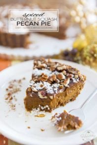 Free of dairy, gluten and refined sugar, this Spiced Butternut Squash Pecan Pie is a nice change from your classic pumpkin pie, and perhaps even better! What's best is you can easily make it with your own homemade butternut squash puree and ditch the canned pumpkin stuff!