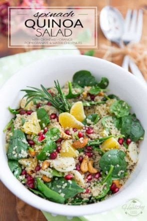This Spinach Quinoa Salad with cashews, orange, water chestnuts and pomegranate seeds is so pretty and tasty, it'll have no trouble finding a spot on your Christmas menu... but really, no need to save it for the occasion: it's just as spectacular any other day of the year!