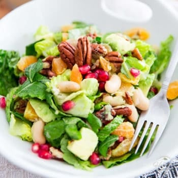 White Bean Pomegranate Salad with Tangy Mustard Dressing – What The Health Book Giveaway