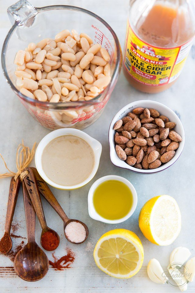 White Beans Smoked Almonds Hummus by Sonia! The Healthy Foodie | Recipe on thehealthyfoodie.com