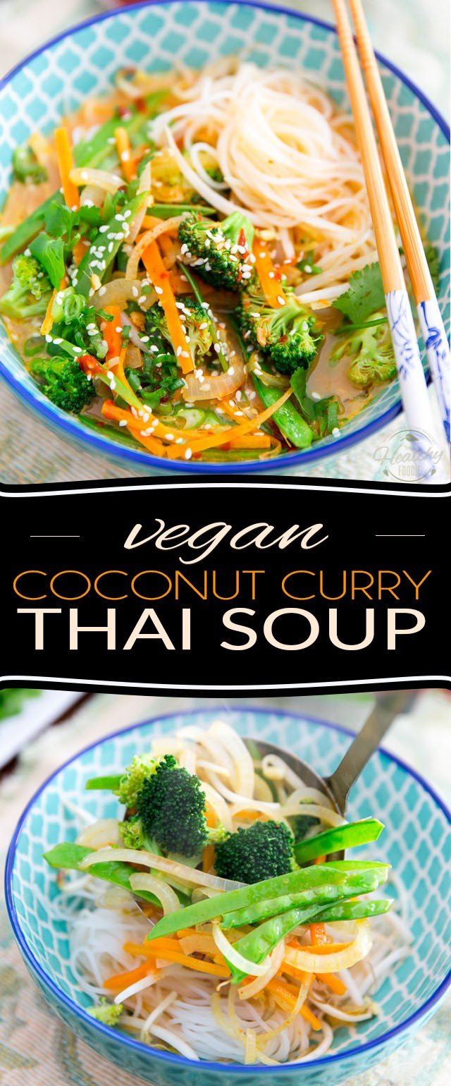 Bursting with all kinds of zesty exotic flavors, coconut sweetness and a bit of a spicy kick, this wholesome and comforting Thai Coconut Curry Soup tastes as heavenly as it is easy to prepare!