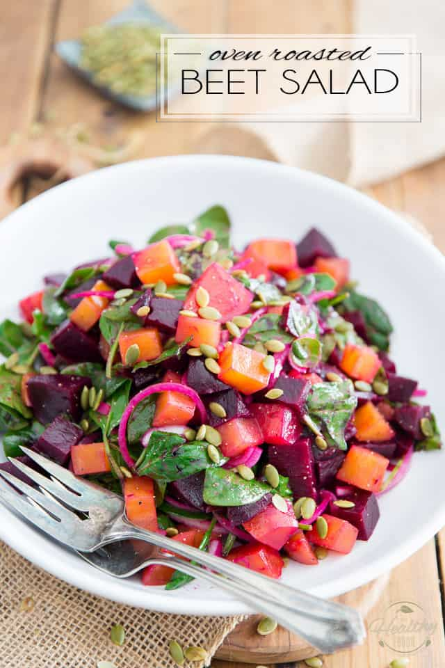 Don't waste another piece of foil to roast your beets in the oven! Simply throw them whole in a Dutch oven, to concentrate and seal in their sweet and earthy flavor, then easily turn them into this nutrition-packed, scrumptious Oven Roasted Beet Salad!