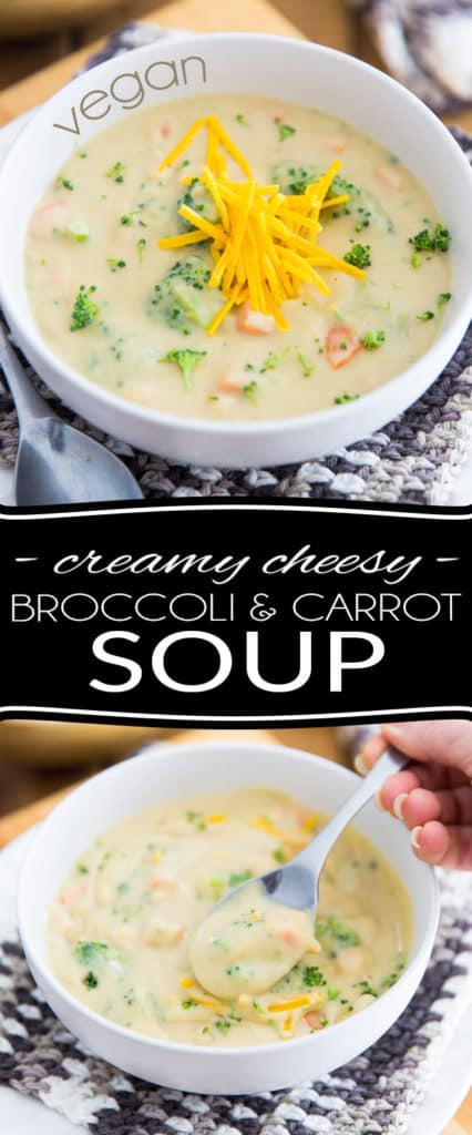 Made with nothing but wholesome ingredients, this Vegan Creamy Cheesy Broccoli and Carrot Soup is so filling and satisfying, so unbelievably thick and silky, you won't believe that it can actually be so crazy good for you!