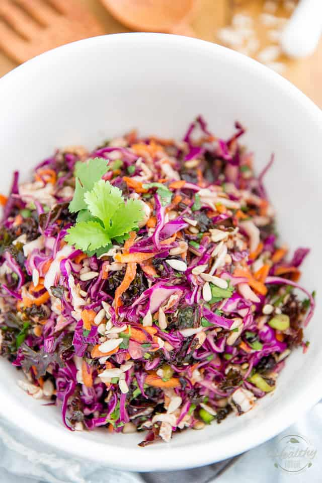 Sweet and tangy with a bit of an Asian flair, this Kaleslaw features a tasty mix of red kale, red cabbage and napa cabbage. It's the perfect companion for all your dishes, any time of day, any time of year!