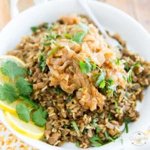 Mujadara – Lentils and Rice with Caramelized Onions