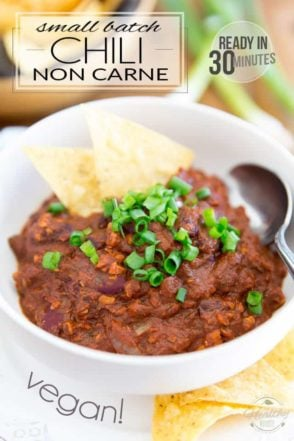 Ready in under 30 minutes, this Small Batch Vegan Chili Non Carne is perfect for those nights when you crave a comforting bowl of chili but really don't have hours to spare... plus, it tastes so crazy good, you probably won't even be able to tell the difference. Or that it doesn't contain meat, for that matter!