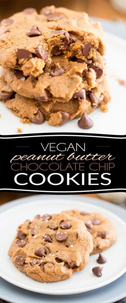 Treat yourself to one of these Vegan Peanut Butter Chocolate Chip Cookies. They're soft and tender and filled with tons of chocolate goodness submerged in subtle notes of rich and buttery peanut butter.