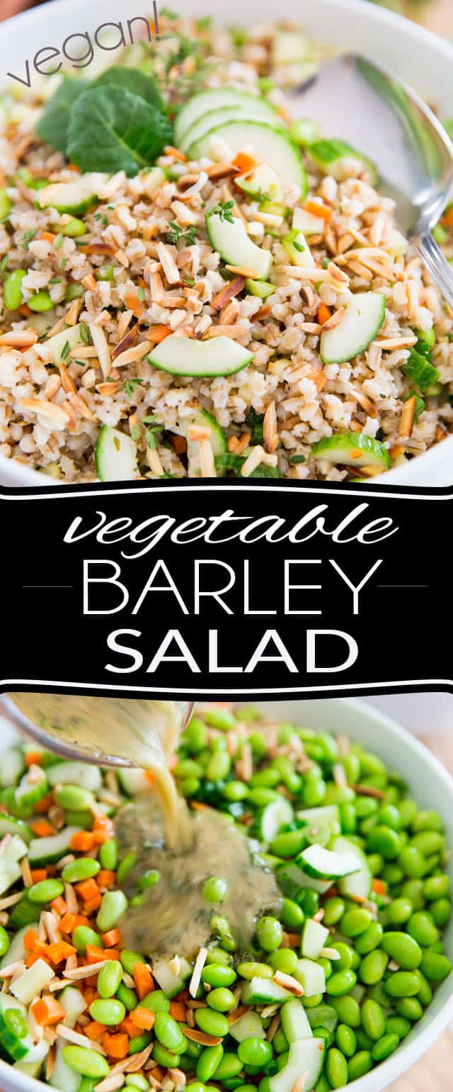 Loaded with all kinds of super nutritious and wholesome ingredients, this sturdy Veggie Barley Salad is a veritable explosion of flavors and textures! Perfect for potlucks, picnics or no-fuss lunch at the office.