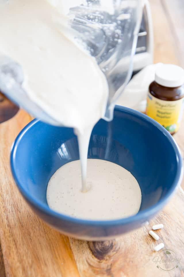 Pour the cashew mixture into a non reactive bowl