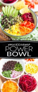 This Mexicano Power Bowl is a total fiesta of flavors, textures and even temperatures... it's warm, it's cold, It's creamy, crunchy, crisp, tangy, sour, spicy and smoky, and all at once! It'll flat out have you Olé, Olé!