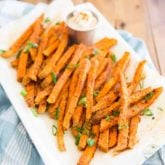 Spicy Oven Baked Sweet Potato Fries that are crispy on the outside, soft on the inside, and all kinds of tasty! Oh, and did I say, all kinds of good for you? Yeah, that too!