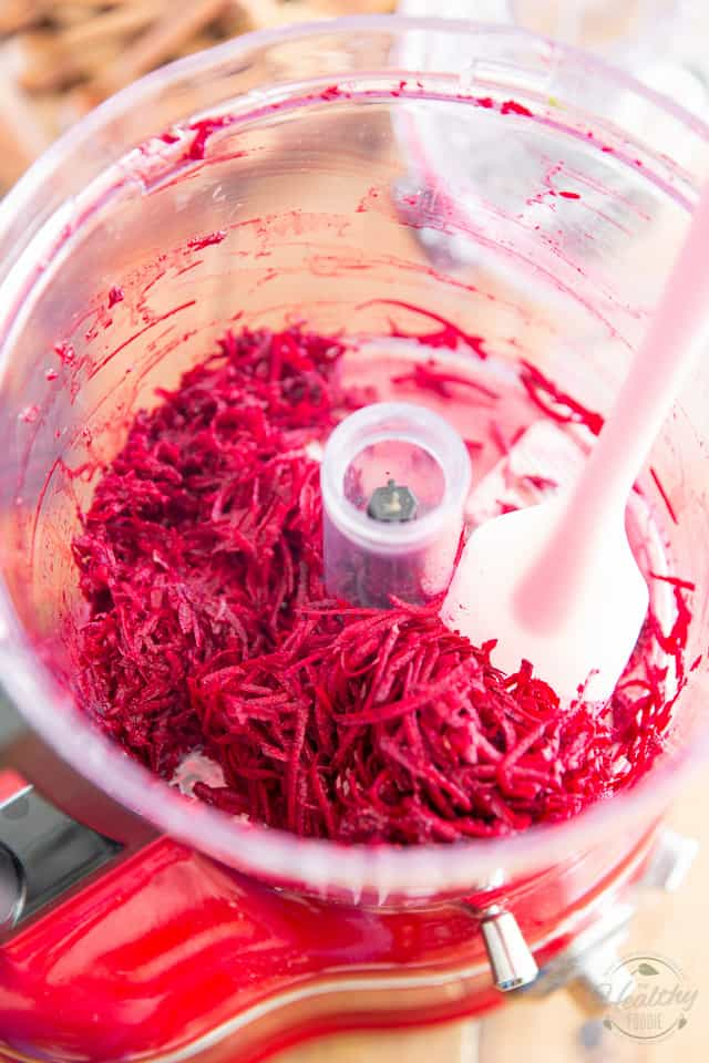 Grated Beets in food processor