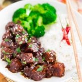 This healthier, vegan General Tso's Tempeh features chunks of crispy fried tempeh, all drenched in that deliciously sweet, tangy and slightly spicy sauce we all love so much.