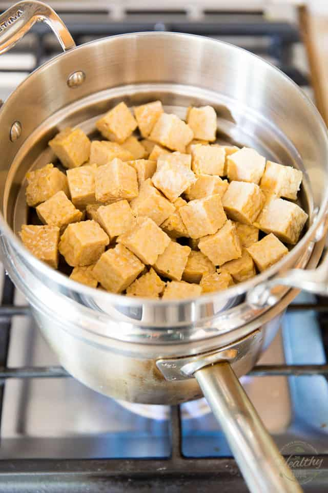 Cut the tempeh into bite size chunks and place them in a steaming basket
