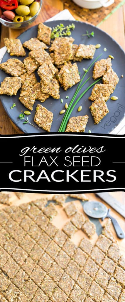 Whether you are vegan, paleo, keto, low-carber or simply eating good healthy, wholesome food, you're gonna absolutely love those Green Olive Flax Seed Crackers. They are nice and crunchy and so crazy yummy, you can totally enjoy them on their own as a quick little snack.