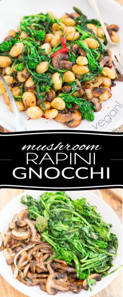 Ready in no time, this Mushroom Rapini Gnocchi recipe is so simple and easy to make, yet so crazy tasty, you'll probably want to add it to your regular rotation!
