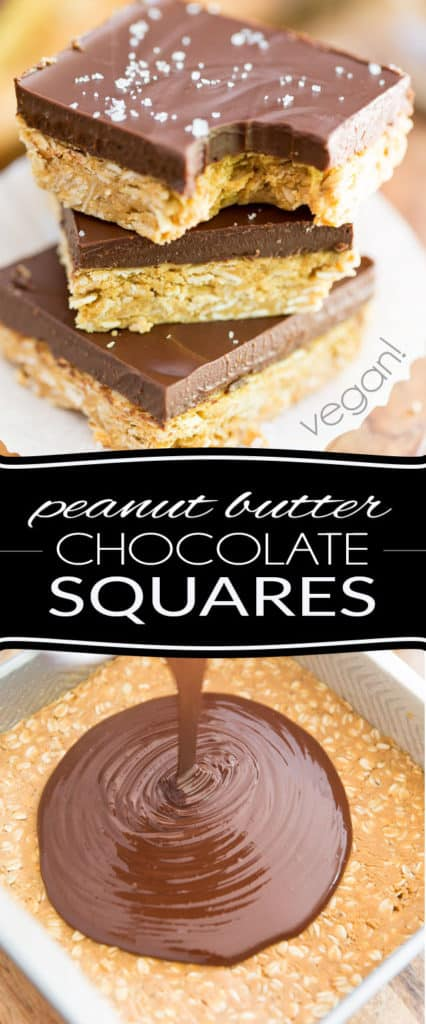 Peanut Butter Oatmeal Chocolate Squares... Need I say more? Chocolate, Peanut Butter... that's all you need to know, right? Oh, and also vegan, gluten-free, made with a bunch of wholesome ingredients, super quick and easy to make. But really, who cares? Peanut butter and chocolaaaaate! Oh yeah, I know!