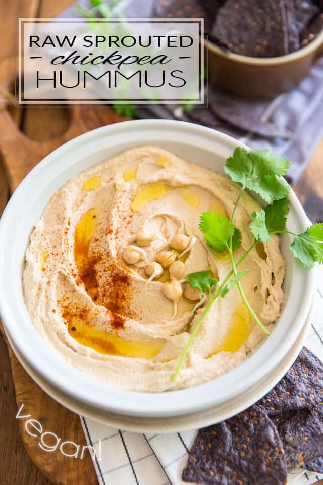 Because it uses raw, sprouted chickpeas as a base, this fluffy, creamy Raw Sprouted Chickpea Hummus is extremely nutritious - a veritable nutrition powerhouse - packed with all kinds of energy and healthful nutrients. Oh, and did I mention it's insanely tasty, too? Yeah, oh yeah...