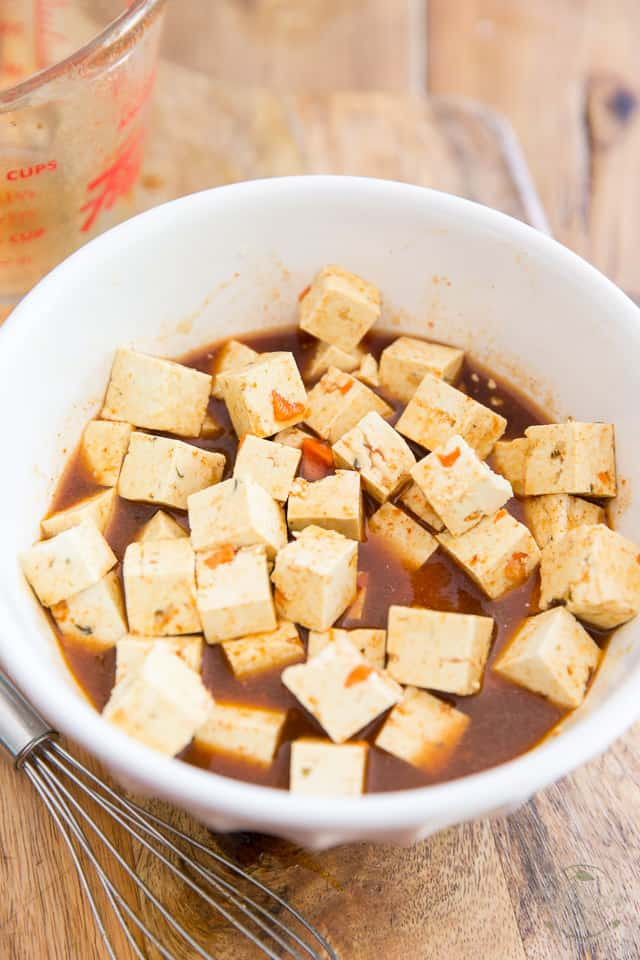 Let the tofu marinate while you work on the rest of the components
