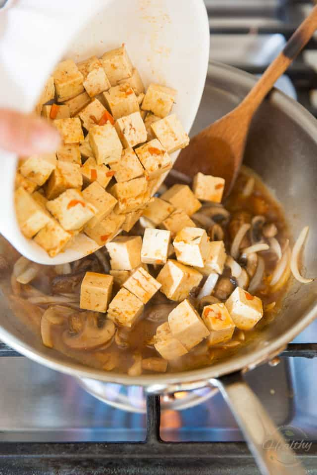 Add the tofu and marinade to the pan