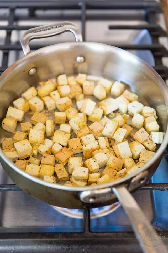 Cook the tofu until brown and crispy