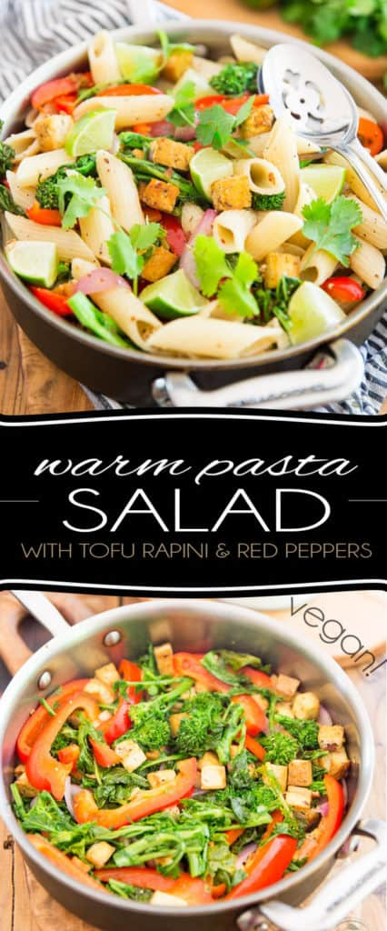 This no fuss vegan Warm Pasta Salad Perfect is meant to be eaten warm, but is just as tasty at room temperature or even right out of the fridge, making it a perfect choice for any season or any occasion!