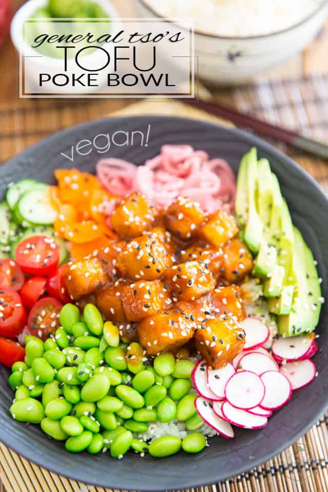 This General Tso's Tofu Poke Bowl is so good, it's way more than just food: it's an experience! It's generous pieces of crispy tofu drenched in a perfectly balanced zesty, sweet and sour sauce, sitting over loads of fresh, crispy vegetables and soft, almost creamy calrose rice.
