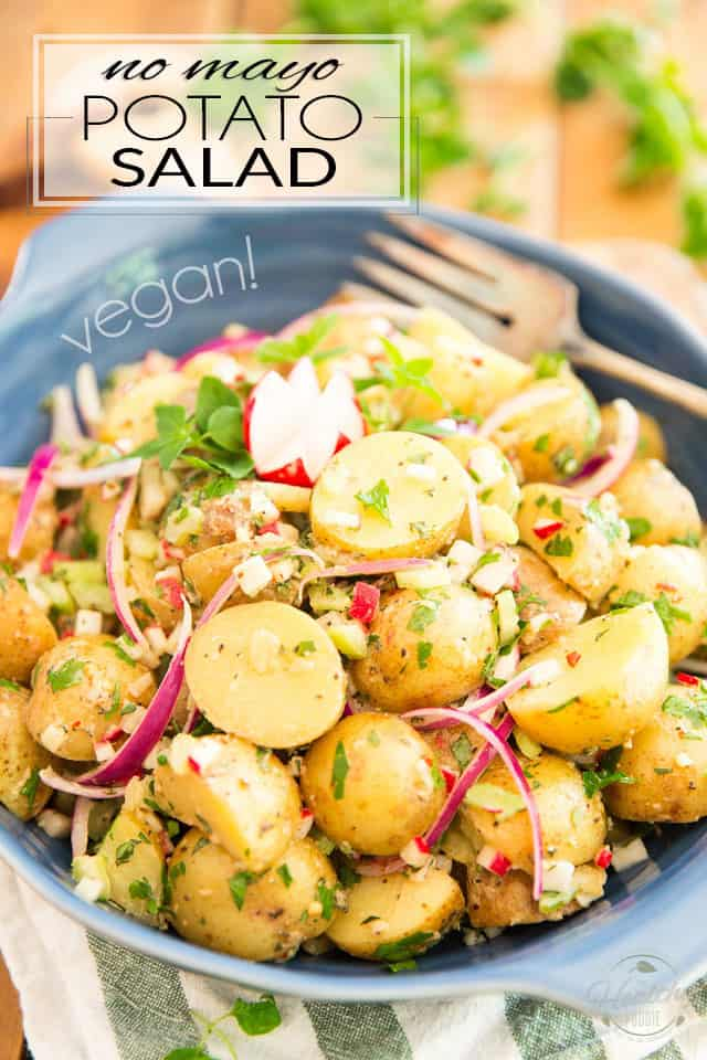 This No Mayo Vegan Potato Salad is the perfect option for those hot summer day picnics or barbecue parties, when mayo is better, and safer, left in the fridge!