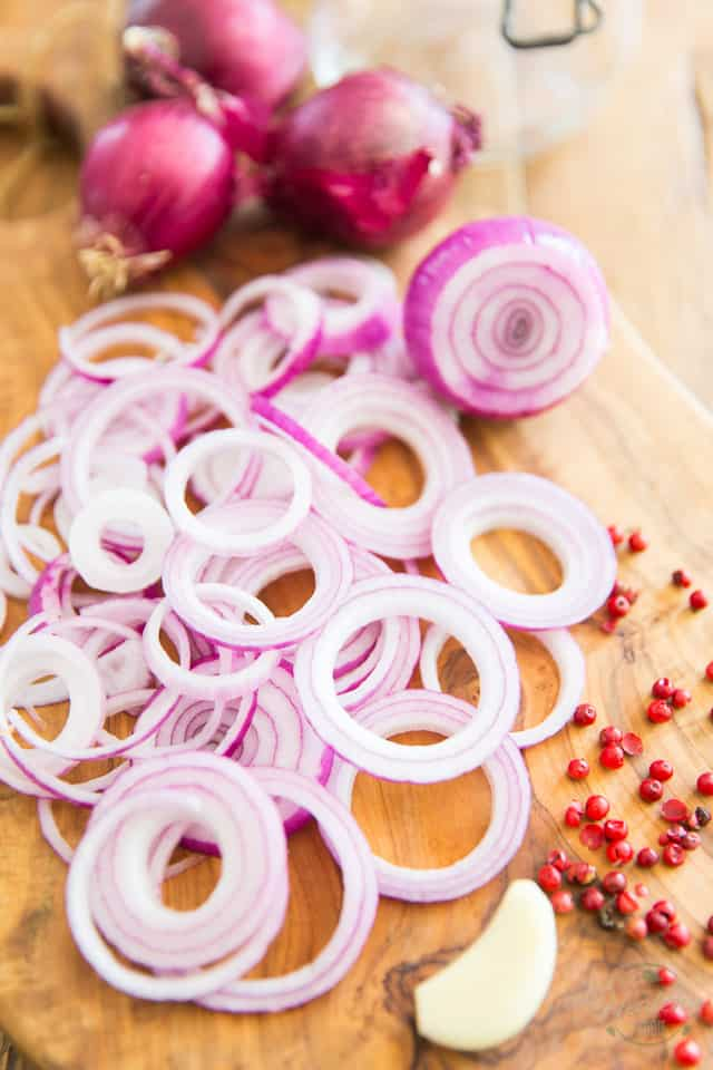 Slice your onions really thinly and peel the garlic clove