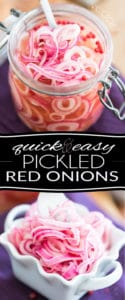 Making Pickled Red Onions is so incredibly easy and quick! About 5 minutes and a handful of ingredients that you most likely have at home is all takes!