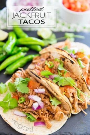 These Vegan Pulled Jackfruit Tacos are so tasty and moist and yummy and did I say tasty? You'd swear they were made with juicy pulled pork that got to cook slowly for hours, when in fact, they only take minutes to make...