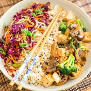 Sweet and Spicy Asian Style Tofu Bowl