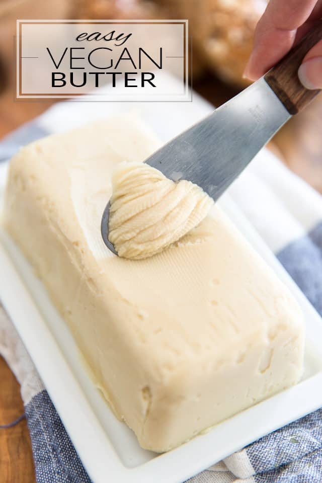 "This Easy Homemade Vegan Butter is crazy smooth and creamy, rich and buttery and most importantly, it spreads and melts just like the ""real"" deal. You will love it on toasts, baked goods, potatoes, sauteed veggies... just about anywhere you would normally use regular butter!"