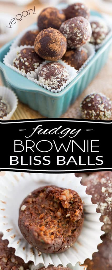Those Vegan Fudgy Brownie Bliss Balls are like delicious little bite-sized raw brownies. Ready in minutes, they're the perfect solution to satisfy your sweet tooth and chocolate cravings in a healthy, wholesome way!
