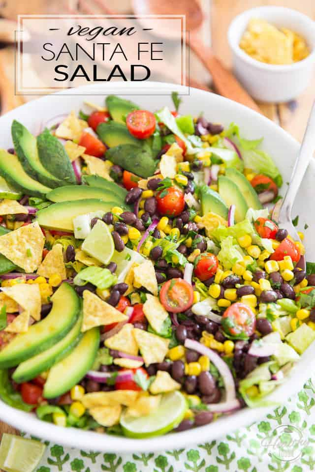 This Vegan Santa Fe Salad explodes with all kinds of bold Mexican flavors! It's loaded with corn kernels, black beans and tomatoes, all divinely brought together with a tangy lime chipotle vinaigrette. Can you say yum?