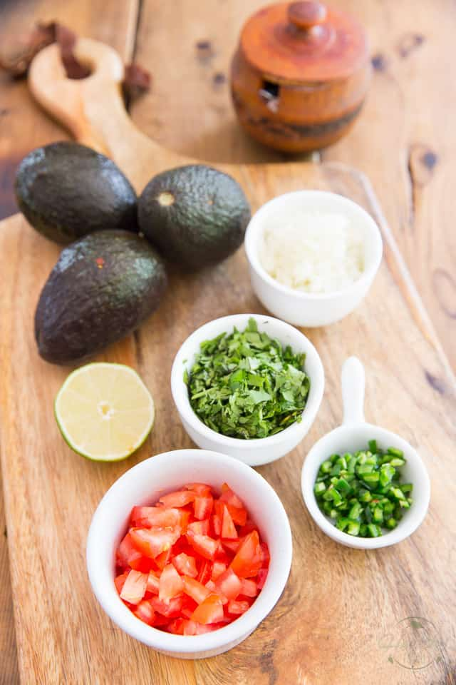 The basic ingredients needed to make guacamole
