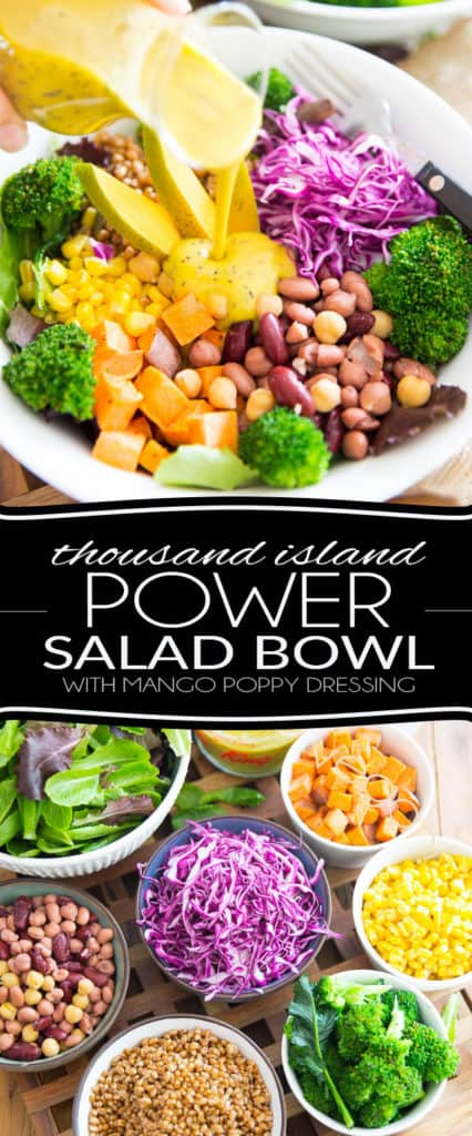 This Thousand Island Power Salad Bowl with Creamy Mango and Poppy Seed Dressing not only is a veritable nutrition powerhouse, it's also a total explosion of flavors and textures. Who ever said salads were boring?