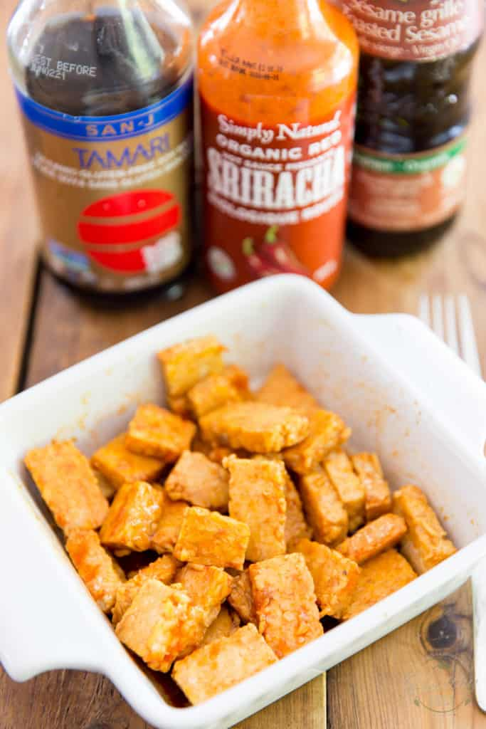 Marinate the tempeh with the tarami, sriracha and sesame oil