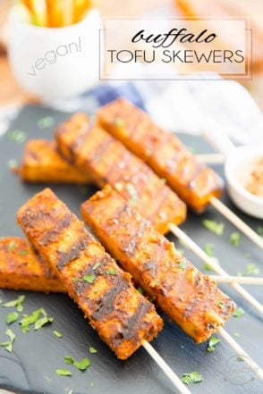 If you are a fan of Buffalo Chicken, then you will be all over these Buffalo Tofu Skewers. Their flavor and texture is so similar to that of chicken, it's almost scary... they will have even the toughest tofu non-enthusiasts completely fooled!