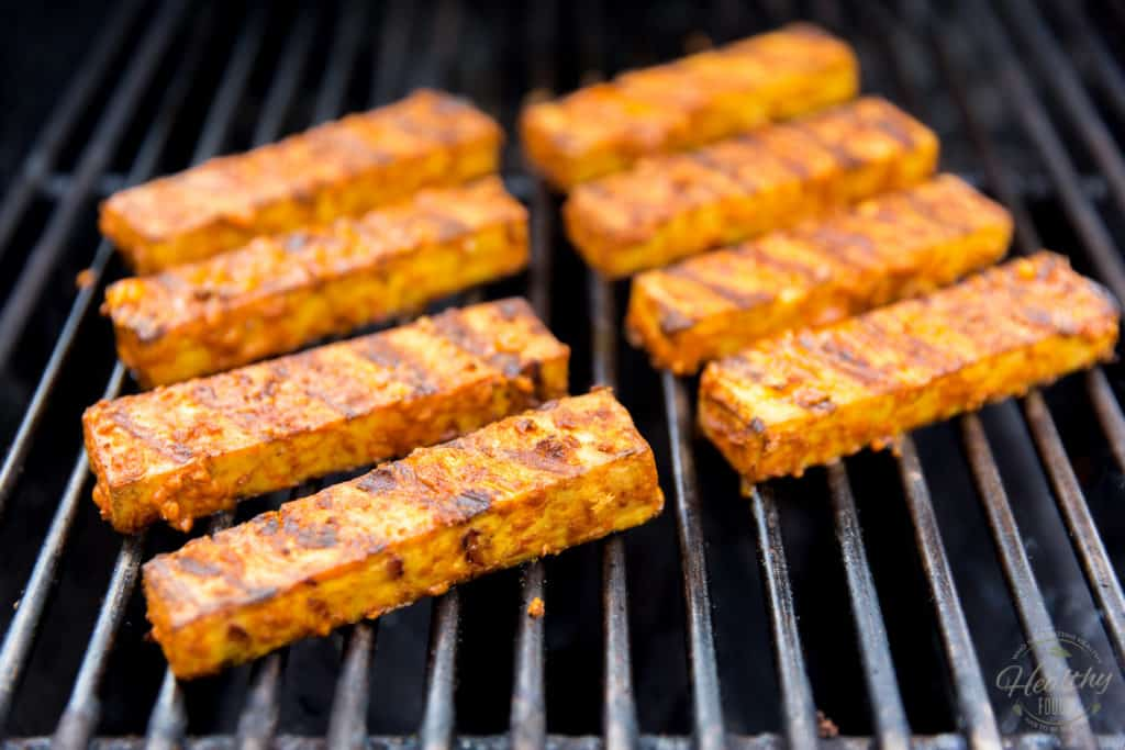 Grill the tofu strip on the outdoor grill